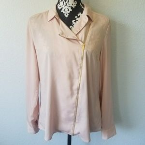 Calvin Klein asymmetrical blush zipper blouse